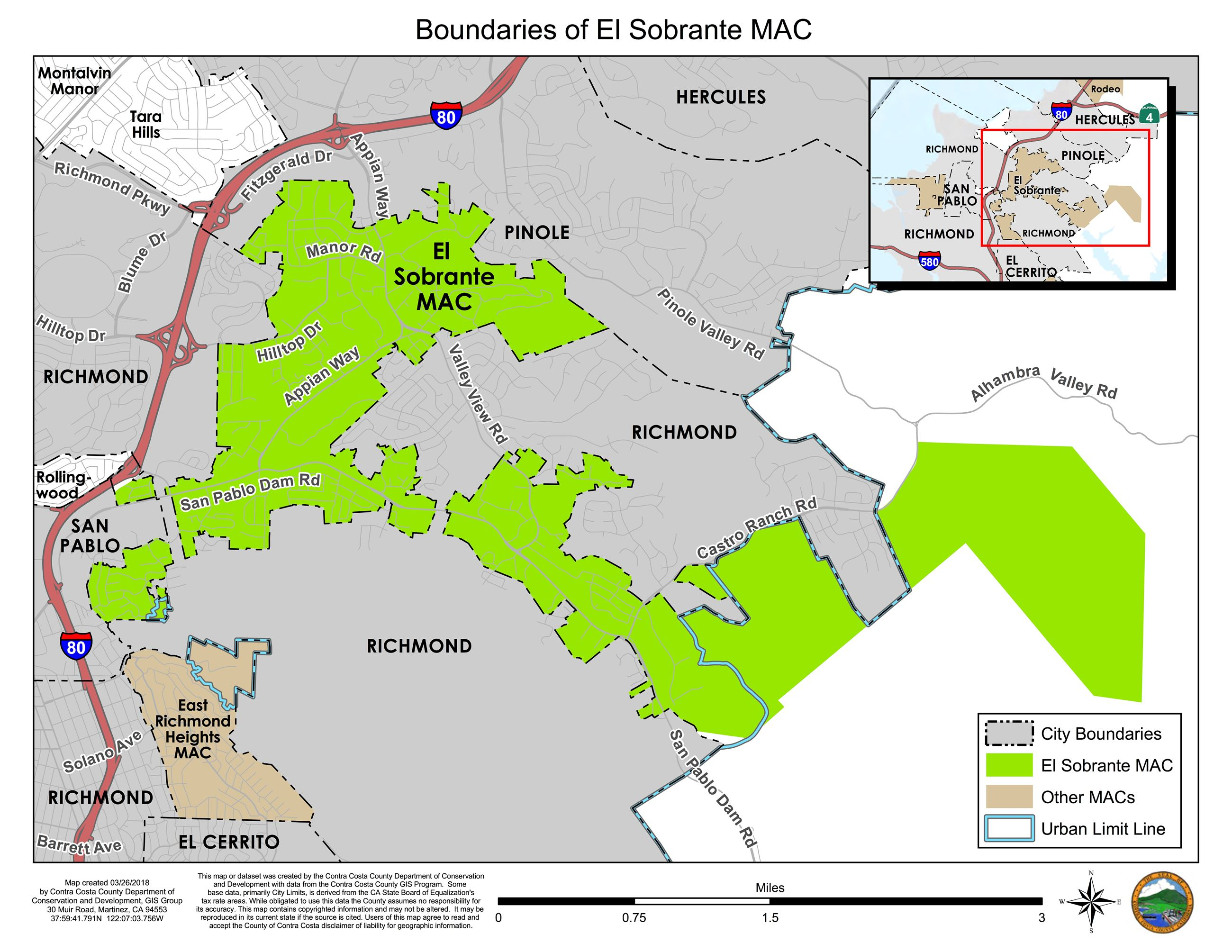 Boundaries of El Sobrante MAC